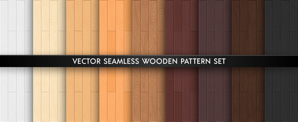 Wood textured seamless pattern set. Light and dark brown natural colors wooden boards repeat texture collection. Vector illustration for design, flat interiours, print, paper, decor, photo background