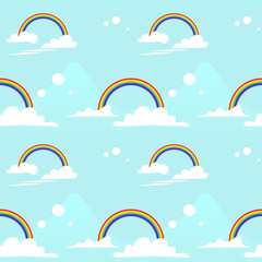Clouds and rainbows in the light blue sky, seamless pattern. Repetitive illustration of clouds and rainbows.