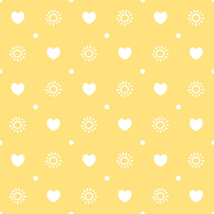 seamless cheerful yellow pattern with hearts and sunshine