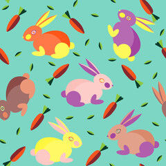 Seamless pattern with cute colorful rabbits, carrots and leaves. Pattern for baby clothes