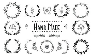 set collection laurels  leaves hand draw vector
