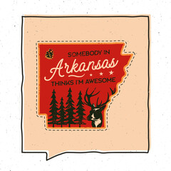 Vintage adventure Arizona badge illustration design. Outdoor US state emblem with forest, deer and text - Smebody in Arizona Thinks I'm Awesome. Unusual american hipster style sticker. Stock vector
