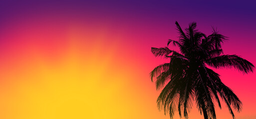 Sunset on tropical beach with palm