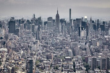 Mesmerizing aerial view over Manhattan and Brooklyn from One World Observatory