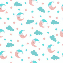seamless background pattern with cartoon character month and clouds for kids
