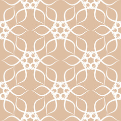 Seamless pattern in arabic style. Beige and white background