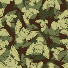 Owl army pattern seamless. Eagle-owl Military background. Soldier and Hunter ornament. Protective fabric texture