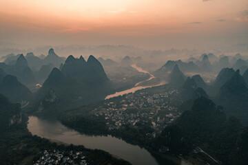 sunrise in Guilin lijiang river