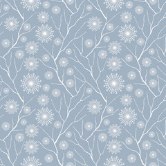 Winter seamless pattern. Snowflakes, tree branches. Background texture. Wallpaper