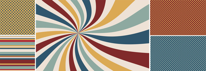 retro starburst or sunburst background vector pattern, vintage color palette of red gold blue yellow and off white in spiral or swirled striped design, matching seamless polka dot and striped pattern