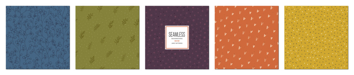 Trendy seamless patterns set. Rustic floral design. For fashion fabrics, kid's clothes, home decor, quilting, T-shirts, backgrounds, cards and templates, scrapbooking etc.