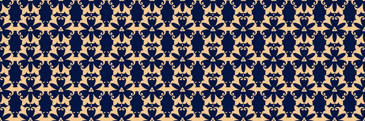Golden floral print. On dark blue seamless background