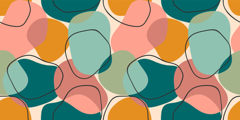 Simple geometric seamless pattern with abstract shapes.