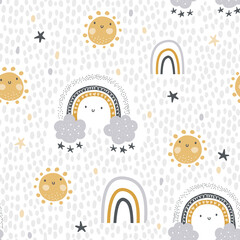 Cute , childish seamless vector pattern for baby textile. Nursery decor, prints,  in abstract scandinavian style. Hand drawn rainbow, sun, stars and polka dots background. Pastel, tender colors.