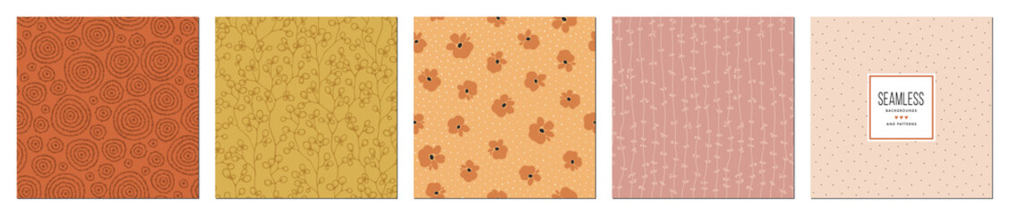 Trendy seamless patterns set in earth tones. For fashion fabrics, kid's clothes, home decor, quilting, T-shirts, backgrounds, cards and templates, scrapbooking etc.