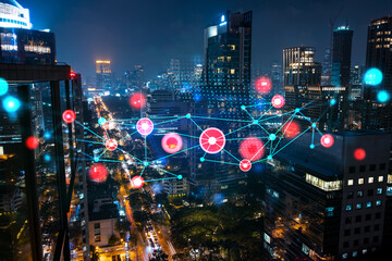 Abstract technology icons, night aerial panoramic cityscape of Bangkok, Asia. The concept of innovative approach to optimize international business process. Double exposure.