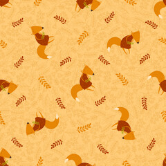 Vector seamless funny foxes pattern with branches and floral elements. Illustration with cute cartoon animals, leaves, branches, flowers. For fabric, wrapping paper, backgrounds, packaging.
