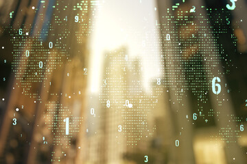 Double exposure of abstract creative programming illustration and world map on blurry cityscape background, big data and blockchain concept