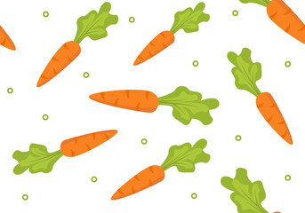 Vector. Seamless pattern with cute orange. Wallpaper with carrots.