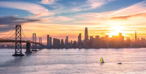 Sunset Behind The San Francisco Skyline Seen From Treasure Island