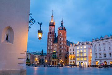St. Mary's Basilica on the Krakow Main Square during the dusk, Poland