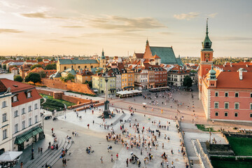 Castle Square in Warsaw at sunset, Poland