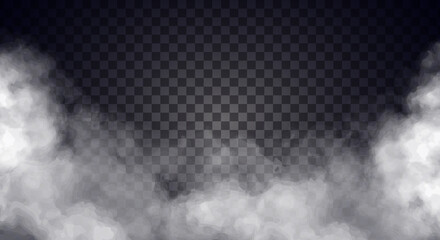 White fog or smoke on dark copy space background. Vector illustration