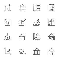 Architecture line icons set, outline vector symbol collection, linear style pictogram pack. Signs, logo illustration. Set includes icons as building construction, house blueprint, architectural tool
