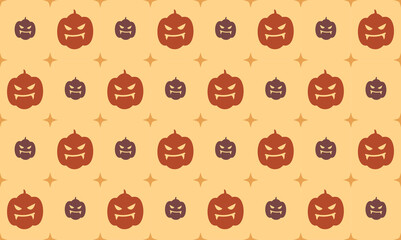 Halloween seamless pattern with carved pumpkin on beige blackground