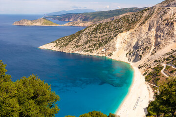 Famous Myrtos beach with white sand and turquoise sea water on Kefalonia island. Greece, Europe