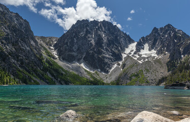panorama of colchuck lake in central washington as part of the enchantment mountain range