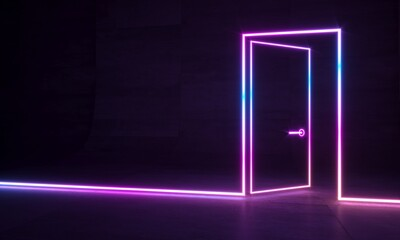 Abstract neon shapes hologram led laser door