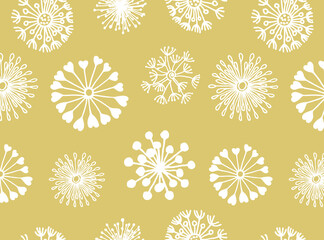 Hand drawn round dandelions pattern in doodle style. White dandelions on a beige background. Vector illustration for clothes, bed line, paper, card. Cute pastel print.