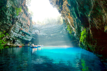 Melissani lake on Kefalonia island
