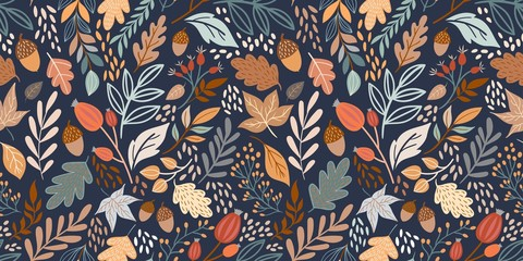 Autumn seamless pattern with different leaves and plants, seasonal colors