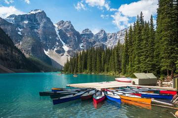 Moraine Lake during summer in Banff National Park, Alberta, Canada.