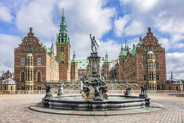 Neptune Fountain (1622) in Frederiksborg Castle (Frederiksborg Slot, XVII century). Hillerod, Denmark.