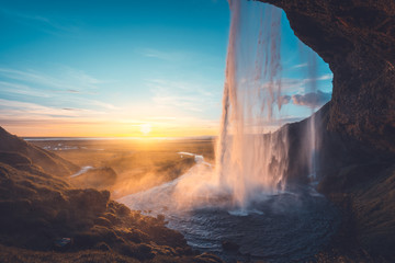 Seljalandsfoss waterfall at sunset, Iceland