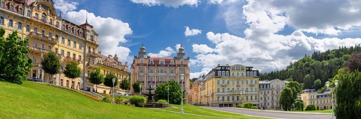 Panorama view - Goethe Square in small Czech spa town Marianské Lázně (Marienbad) - Czech Republic