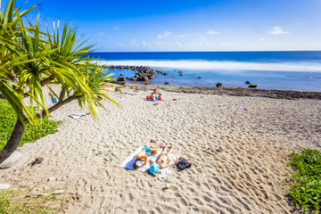 tropical beach scene, Grand' Anse, Reunion island