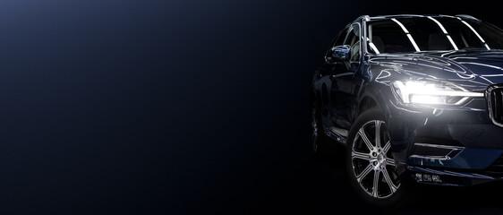 Black modern car on black background.