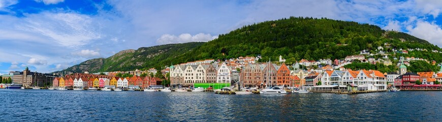 Big рanoramic view of a Historical  district Bryggen (Tyskebryggen).