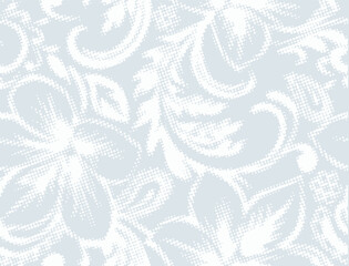 Trendy autumn/winter white, light silver colours artistic elegance and fresh geometric floral vector seamless pattern design