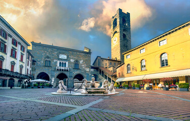Piazza Vecchia square with Contarini fountain. Bergamo, Lombardy, Italy