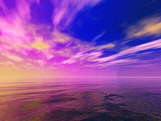 Abstraction on the theme of the sea sunset, 3D rendering, abstract sea sunrise
