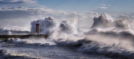 Porto lighthouse during an atlantic storm