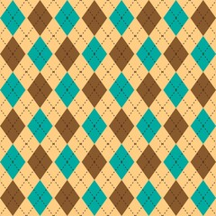 Argyle seamless pattern in classic colors. Fabric texture background with rhombuses, staggered. Argyll vector classic ornament. Stylish background for design, pattern for fabric, wallpaper.