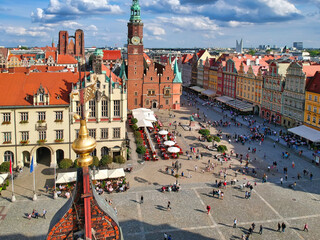 Beautiful architecture of the Old Town Market Square in Wrocław, Poland
