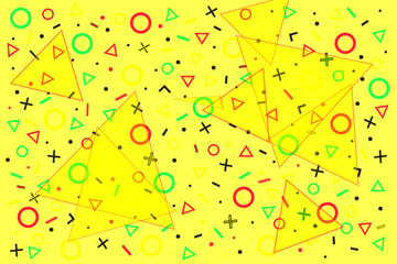 Geometric memphis design pattern, pop art colors vector background. Simple trendy memphis pattern of repeat geometric figures, soft yellow wallpaper style for wrapping paper, wall art, banner or flyer