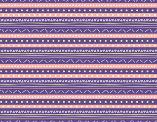 Seamless geometric pattern with dots, stripes, triangles, violet, yellow, pink. Hand drawn vector illustration. Scandinavian style flat design. Concept for kids textile print, wallpaper, packaging.